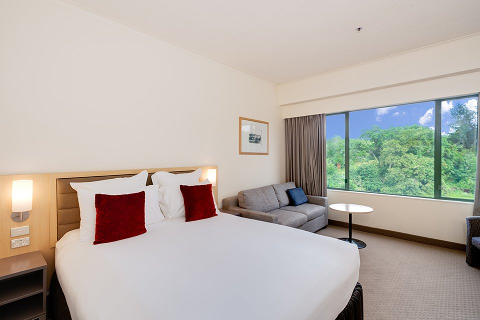 Hotel room with one king size bed and a view of the city or lake from the window.
